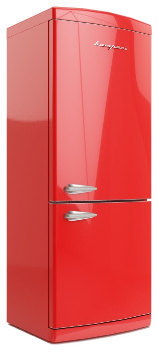 frigo retro 39 combinato bompani bocb740 r colore rosso no frost largo 70 cm apertura a dx classe a. Black Bedroom Furniture Sets. Home Design Ideas